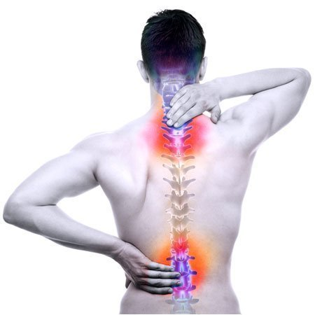 Men holding back and neck pain